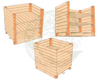 деревянный контейнер для овощей, контейнер овощной, хранение в овощехранилищах, контейр деревянный для овощей